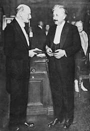 Max Planck presents Albert Einstein with the Max-Planck medal, Berlin June 28, 1929