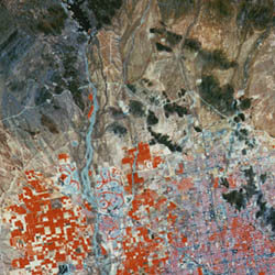 aerial view Phoenix, Arizona shows infrared data composited with visible light data