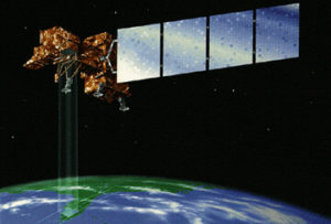 Landsat 7 satellite in space record data about amount of infrared light emitted from Earth's surface